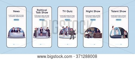 Tv Programming Onboarding Mobile App Screen Flat Vector Template. Television Industry Walkthrough We