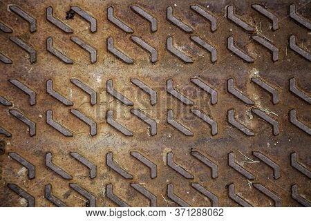 Metallic Background With Shapes, Detail Of Rusty Background