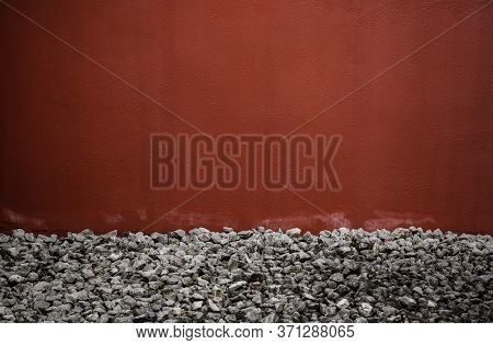 Red Wall With Stones, Textured Background Detail