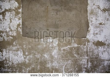 Old Cement Background, Detail Of Deteriorated Facade, Construction