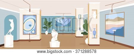 Contemporary Art Gallery Flat Color Vector Illustration. Painting Exhibits For Excursion. Modern Mas