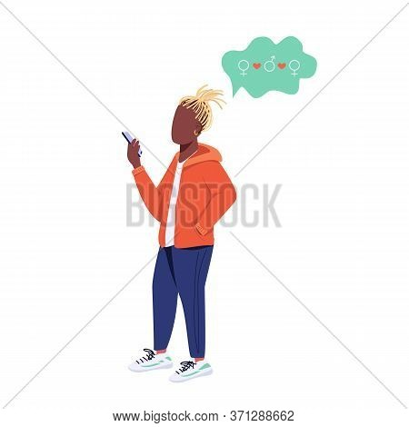 Young Guy With Smartphone Flat Color Vector Faceless Character. Generation Z Lifestyle, Free Relatio