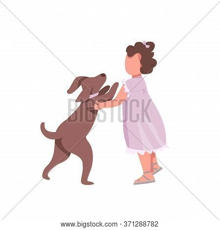 Girl Play With Dog Flat Color Vector Faceless Characters. Little Toddler Want To Hug Cute Puppy. Emb