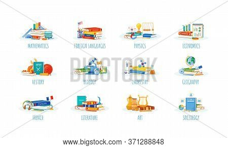 School Subjects Flat Concept Vector Illustrations Set. Natural And Formal Science Metaphors. Foreign