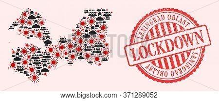Vector Collage Leningrad Region Map Of Sars Virus, Masked Men And Red Grunge Lockdown Seal Stamp. Vi