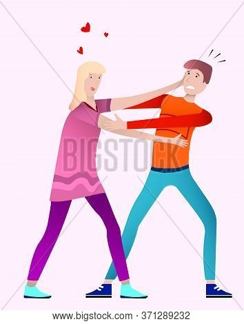 Girl In Love Reaches For A Young Guy To Kiss Him. Unrequited Love. Vector Illustration On The Theme