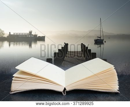 Digital Composite Concept Image Of Open Book Wth Beautiful Unplugged Landscape Image Of Sailing Yach