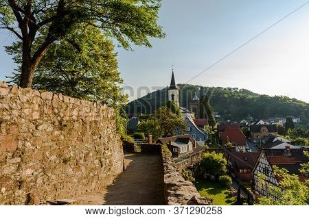 Lindenfels In Odenwald With Church And Town Fortification, Hesse, Germany