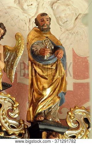 ZAGREB, CROATIA - MAY 16, 2013: Saint Peter the Apostle, altar of Saint Dionysius in the Church of Saint Catherine of Alexandria in Zagreb, Croatia