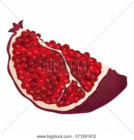 Slice Pomegranate Icon. Cartoon Of Slice Pomegranate Vector Icon For Web Design Isolated On White Ba
