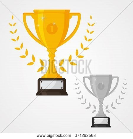 Winner Solid Trophy Icon With Number One And Different Color. Gold And Silver Cup Trophy Icon Symbol