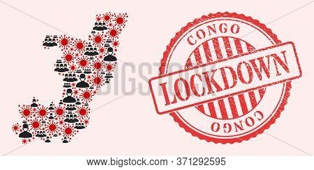 Vector Mosaic Republic Of The Congo Map Of Sars Virus, Masked People And Red Grunge Lockdown Seal. V