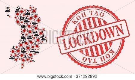 Vector Mosaic Koh Tao Map Of Sars Virus, Masked People And Red Grunge Lockdown Seal Stamp. Virus Ite