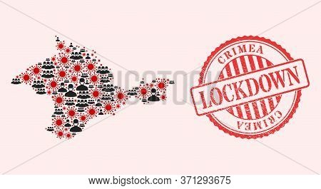 Vector Collage Crimea Map Of Sars Virus, Masked Men And Red Grunge Lockdown Stamp. Virus Items And M
