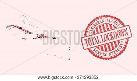 Vector Mosaic Caribbean Islands Map Of Coronavirus, Masked Men And Red Grunge Lockdown Seal Stamp. V