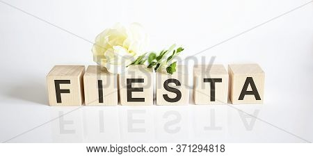 Wooden Cube Block To Fiesta Word . Summer Concept