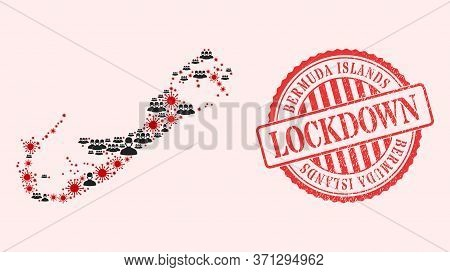 Vector Collage Bermuda Islands Map Of Covid-2019 Virus, Masked People And Red Grunge Lockdown Seal S