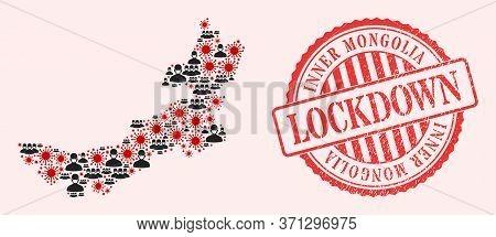 Vector Collage Inner Mongolia Map Of Corona Virus, Masked People And Red Grunge Lockdown Stamp. Viru