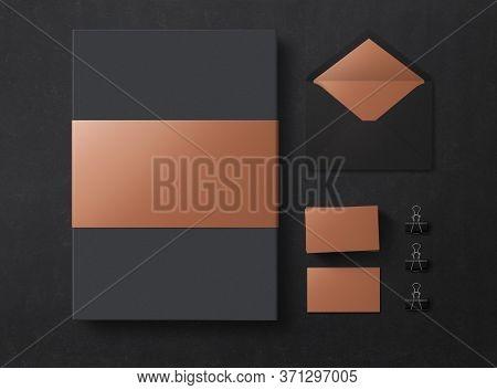 Mock Up. Set Of Mock Up Elements On Black Background. Blank Objects For Placing Your Design. 3d Illu