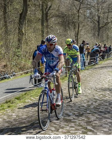 Wallers,france - April 12,2015: Two Cyclists, Murilo Antonio Fischer Of Fdj Team And Michael Morkov
