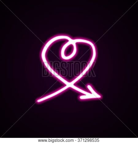 Vector Neon Icon Pink Arrow In The Shape Of A Heart. Hand-drawn Vector Illustration Of A Pointer On