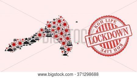 Vector Collage Koh Lipe Map Of Flu Virus, Masked People And Red Grunge Lockdown Seal. Virus Particle