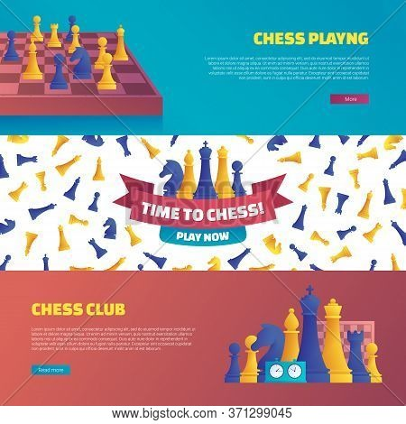 Chess Club Horizontal Flyers Set. Web Banner Template With Various Yellow And Blue Chess Pieces Vect