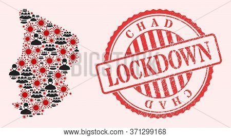 Vector Collage Chad Map Of Corona Virus, Masked Men And Red Grunge Lockdown Stamp. Virus Cells And M