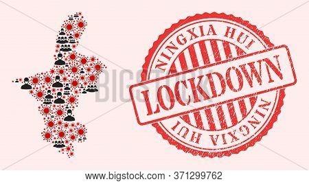Vector Mosaic Ningxia Hui Region Map Of Corona Virus, Masked Men And Red Grunge Lockdown Seal. Virus