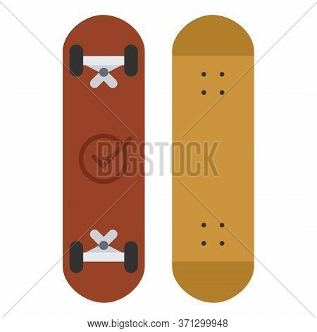 Skateboard Isolated On White Background. Vector Skateboarding Deck In Flat Style
