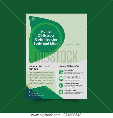 Hemp Flyer Template | Hemp Product Poster With Green Elements