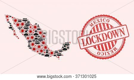 Vector Mosaic Mexico Map Of Covid-2019 Virus, Masked People And Red Grunge Lockdown Seal Stamp. Viru
