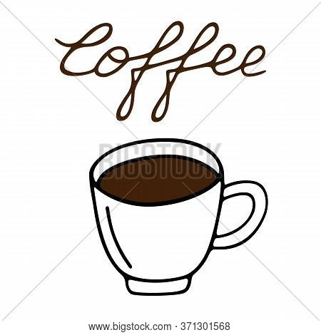 Large Mug Of Coffee Hand-drawn. Vector Illustration In Doodle Style Black Outline With Brown Element