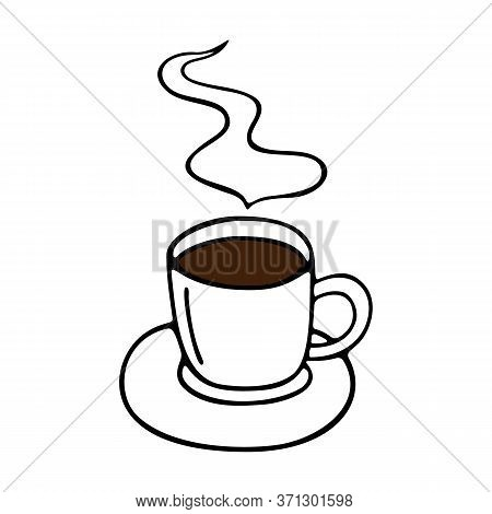 Large Mug Of Coffee Or Cocoa On A Saucer Hand-drawn. Vector Illustration In Doodle Style Black Outli