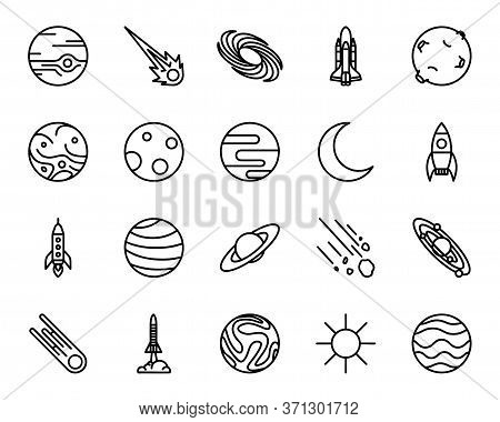 Universe, Celestial Bodies, Rocket Launching, Astronomy And More, Thin Line Icons Set. Cosmo Explora