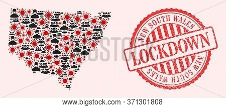Vector Collage New South Wales Map Of Covid-2019 Virus, Masked People And Red Grunge Lockdown Stamp.