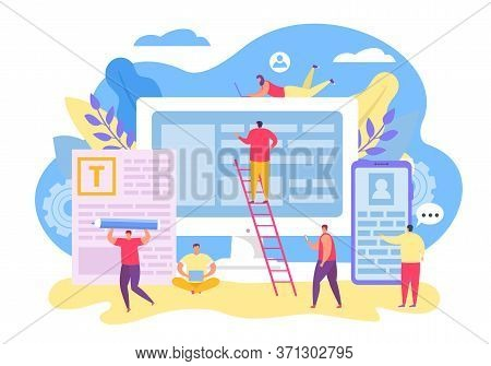 Teamwork Character For Contect Management, Vector Illustration. Seo Team Design Application, Write T