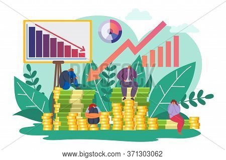Financial Crisis, Economy Down Chart Vector Illustration. Finance Fall And Depression, Economic Cart