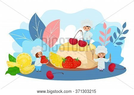 Cake With Fruits, Chef Food Vector Illustration. Baking Confectionery With Berry Decoration Fruit, M