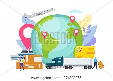 Global Logistic Network Concept, Export Delivery Vector Illustration. Cargo Ship Transportation, Wor
