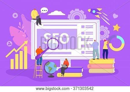 Seo Web Technology Concept, Vector Illustration. Internet Business, Design And Development Website P