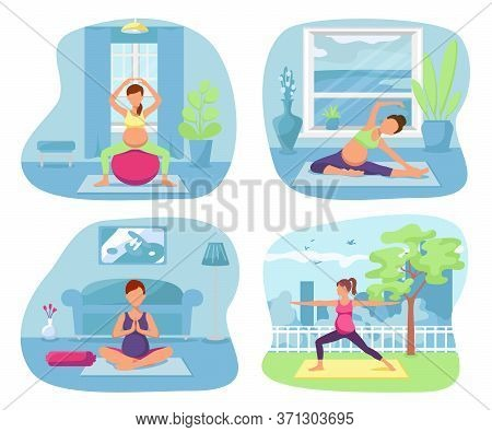 Yoga Healthy Pregnant Woman, Vector Illustration. Pregnancy Exercise Lifestyle At Home, Female Fitne