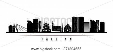 Tallinn Skyline Horizontal Banner. Black And White Silhouette Of Tallinn, Estonia. Vector Template F