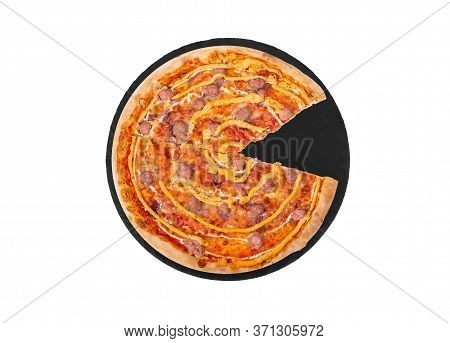 Tasty Salsiccia Pizza With Beef Sausages, Mozzarella, Various Sauces And Marinated Red Onions, Witho