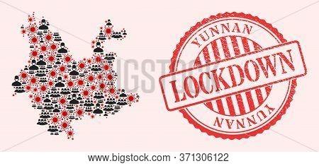 Vector Mosaic Yunnan Province Map Of Sars Virus, Masked People And Red Grunge Lockdown Stamp. Virus