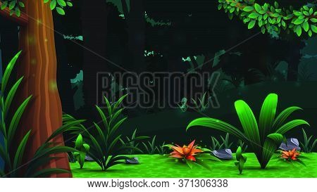 A Magical Forest With Beautiful Flowers, Dense Dark Forest And Dense Vegetation. Vector Landscape, W
