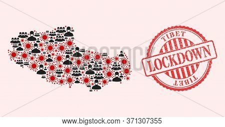 Vector Mosaic Tibet Map Of Covid-2019 Virus, Masked People And Red Grunge Lockdown Seal Stamp. Virus