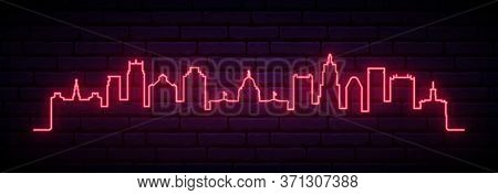 Red Neon Skyline Of Providence City. Bright Providence Long Banner. Vector Illustration.