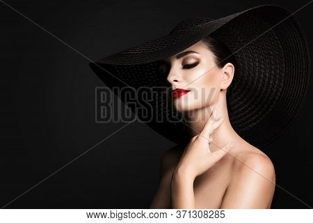 Woman Beauty Black Hat, Elegant Fashion Model Glamour Retro Portrait, Wide Broad Brim
