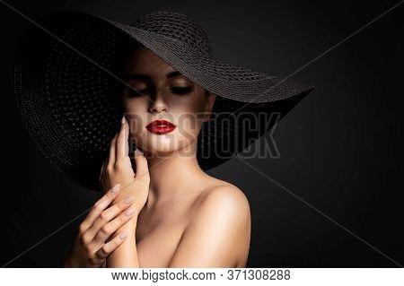 Woman Lips And Black Hat, Fashion Model Beauty Portrait, Elegant Lady In Wide Broad Brim Hat